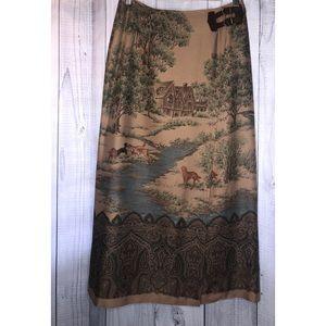 LAUREN RALPH LAUREN Maxi Wrap Skirt Hunting Dogs